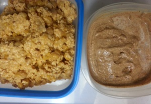 Chick pea paste with Tahini Dip on the right